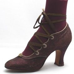 1900s accessory, shoes- Shoes with pointed tips were popular at this time with a small heel- tango shoe circa 1910.