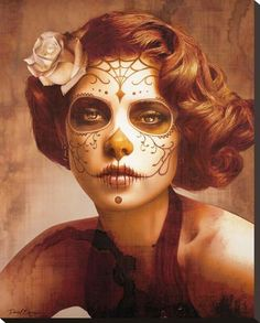 Face painting examples are very useful in the art of face painting. One of the greatest things about face painting examples, is that there are many reference Sugar Skull Makeup, Sugar Skull Art, Sugar Skulls, Disfarces Halloween, Vintage Halloween, Vintage Witch, Halloween Parties, Halloween Costumes, Maquillaje Sugar Skull