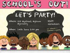 School's Out Let's Party! Party Invitation to Print, Digital Card, Personalized, JPG PDF, DIY card to print, custom invitation,