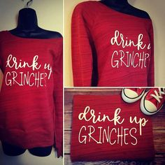 Drink up grinches off shoulder sweater holiday sweater