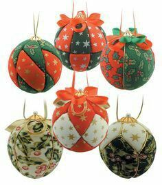 Pinflair Fabric Baubles Kit - Makes 6 Decorations Christmas Decorations Sale, Quilted Christmas Ornaments, Christmas Sewing, Christmas Tree Ornaments, Christmas Diy, Craft Decorations, Ornament Crafts, Christmas Projects, Christmas Crafts