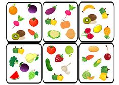 Dobble - Fruit and Vegetables Preschool Education, Teaching Kids, Home Learning, Learning Activities, Visual Perception Activities, Food Spot, English Fun, Montessori Materials, Fruits And Vegetables