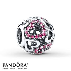 Openwork sterling silver hearts alternate with hearts depicted in pink cubic zirconias in this charm from the PANDORA 2015 Valentine's Day collection. Style # 791424CZS.
