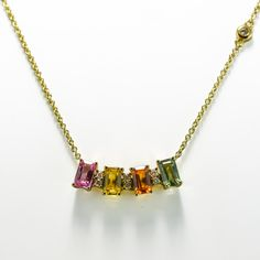 Multi Coloured Sapphire & Diamond Necklace in Yellow Gold Sapphire Necklace, Sapphire Diamond, Diamond Heart, Blue Sapphire, Diamond Cuts, Gold Necklace, Emerald Cut, Pink Yellow, Arrow Necklace