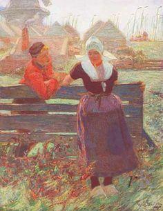 Hans von Bartels Man en vrouw bij een hek in Volendam, na 1887 NoordHolland Volendam