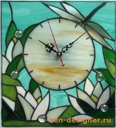 Стрекоза и лилии. Настенные витражные часы на тему лета. - Декоративные настенные часы из витражных материалов - Zen Designer