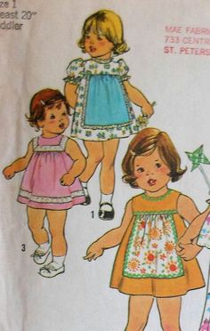 Retro 70s Toddler Summer Dress Sewing Pattern Simplicity 7409 Size1 Sleeveless and Puffy sleeve