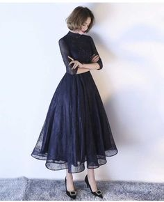 Dark Navy Cocktail Dress High Collar Sash Lace Illusion Sleeve Applique Beaded A. Dark Navy Cocktail Dress High Collar Sash Lace Illusion Sleeve Applique Beaded A Line Tulle Formal Party Dresses-No. Elegant Dresses, Pretty Dresses, Sexy Dresses, Vintage Dresses, Dress Outfits, Evening Dresses, Short Dresses, Fashion Dresses, Dresses For Work