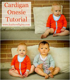 How adorable is this cardigan onesie? We fell in love with it too the first time we saw it on Feather's Flights. In fact, there are a bunch of great tutorials for baby boys there, like the Little Boy Tie and Baby Shortalls from a T-shirt. The Men's Shirt Baby Romper looks just like a little