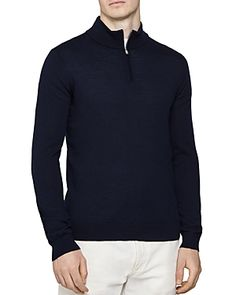 Reiss Blackhall Funnel Quarter-zip Sweater In Navy Zip Sweater, Mens Fashion, Navy, Sweaters, Jackets, Shopping, Clothes, Style, Pullover