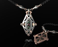 Haunted. Palladium and 18kt Rose Gold with Diamond, Emeralds, Pink Sapphire. Massive modern necklace. Whaley House San Diego Hommage.