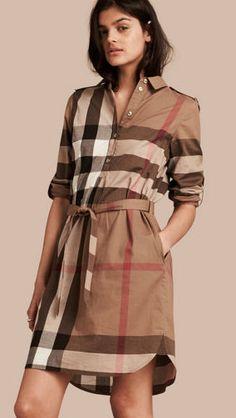 Check Cotton Shirt Dress Taupe Brown