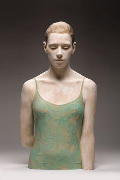 Bruno Walpoth:(Ortisei, Bolzano 1959)  'Childhood Memories'. 2012  Wood sculpture cm 76x41x28