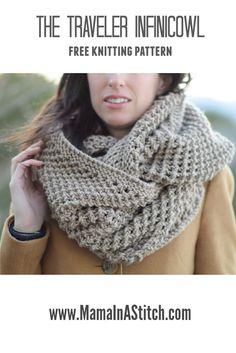 The Traveler Knit Infinicowl Scarf Pattern via @MamaInAStitch