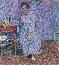 Cuno Amiet,  Anna Amiet, am Tisch sitzend-1906