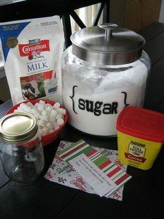 hot cocoa mix in a mason jar