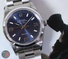 """Setting Shadows!"" #Rolex 34mm Air-King Blue Dial, circa 2001 Ref#: 14000M  ($3,235.00 USD) http://www.elementintime.com/Rolex-Air-King-Precision-14000M-Stainless-Steel-Blue-Dial-Sku-9132"