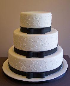 Black and White Wedding Cake...smaller cake for civil wedding.