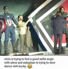 "Chris Evans and Sebastian Stan. Sebby was saying to Bucky""it's going to be okay, I promise. Funny Marvel Memes, Dc Memes, Avengers Memes, Marvel Jokes, Marvel Dc Comics, Marvel Avengers, Super Hero Shirts, Fandoms, Marvel Actors"