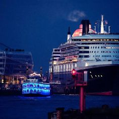 Queen Mary 2 cruising in Hamburg Germany