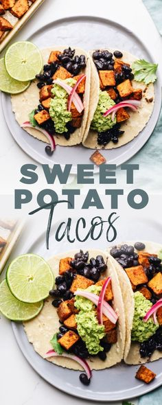 These amazing sweet potato tacos are so delicious and take a quick 30 minutes to make! A healthy vegan taco recipe with roasted sweet potatoes, black beans, and crunchy pickled onions. The whole family will love this quick and easy dinner! Easy Vegan Dinner, Vegan Dinner Recipes, Vegan Dinners, Vegetarian Recipes, Dinner Healthy, Easy Vegan Food, Healthy Food, Healthy Taco Recipes, Beef Recipes