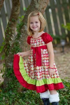 Girls CHristmas Peasant Dress - Size 18mos., 2/3, 4/5. $55.00, via Etsy.