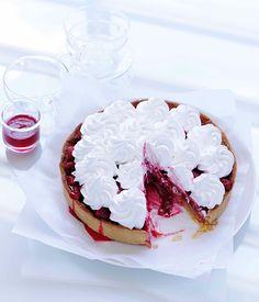 Australian Gourmet Traveller recipe for rhubarb and raspberry meringue tart.