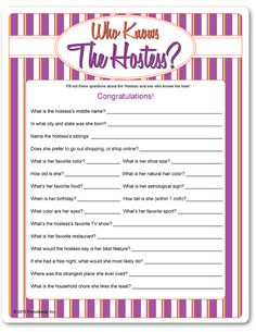 Printable Who Knows the Hostess?