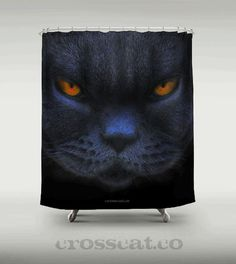 Would you take a shower with a BIG CROSS CAT? Get your big cross cat shower curtain here http://society6.com/PaulStickland/Big-Cross-Cat_Shower-Curtain #cats #crosscat #showers | See more about shower curtains, curtains and crosses.