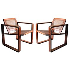 Pair of Bauhaus Style Wood & Cane Armchairs Circa 1925 | From a unique collection of antique and modern armchairs at https://www.1stdibs.com/furniture/seating/armchairs/
