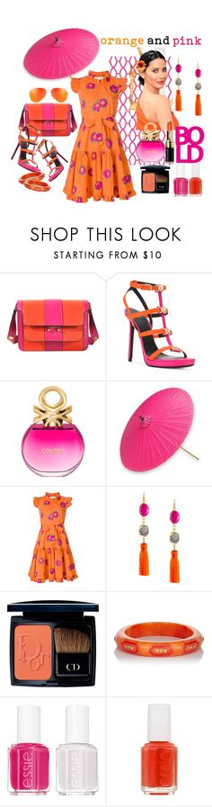"""""""Pops  of orange and pink~!"""" by susan-993 ❤ liked on Polyvore featuring Marni, Versace, Benetton, NOVICA, La DoubleJ, Panacea, Christian Dior, Mark Davis, Essie and orangeoutfit"""