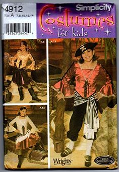 MOMSPatterns Vintage Sewing Patterns - Simplicity 4912 509 Discontinued Costume Sewing Pattern Pirates of the Carribean Elizabeth Swan Pirate Top, Skirt, Breeches, Scarf & Sash Girls Vogue Sewing Patterns, Simplicity Sewing Patterns, Vintage Sewing Patterns, Doll Dress Patterns, Costume Patterns, Girl Pirates, Pirate Woman, Pirate Wench, Cape Pattern