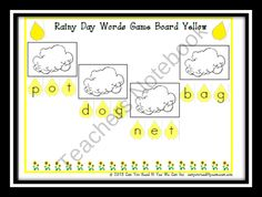 Rainy Day Words: CVC Center Game from Can You Read It on TeachersNotebook.com (15 pages)  - This 15 page file contains 6 color coded player game boards to practice decoding CVC words.  Students need to decode the word on the raindrop and find the matching picture on a cloud.  This game aligns with CCSS Reading Foundational Skills K.RF.3. A black