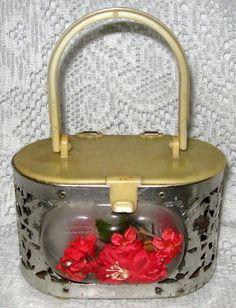 Childs Small Plastic & Pierced Metal Purse w/ Music Box & Flowers