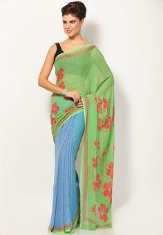 georgette dark blue printed saree - Google Search