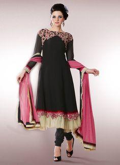 $85 Cbazaar #Black #Georgette #ChuridarSuit  **From cBazaar Online Store