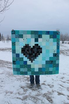 Daydreams of Quilts: Teal Pixel Heart in a Pixel Heart Quilt