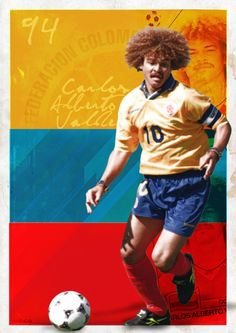 "Carlos ""El pibe"" Valderrama (born September is an legendary Colombian ex football player. He is known for its very good techniques and was voted ""best american footballplayer"" several times. Legends Football, Football Icon, Retro Football, Football Design, World Football, Football Soccer, Famous Colombians, Soccer Locker, Colombian People"