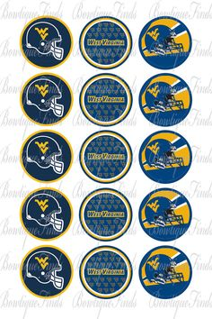 West Virginia Mountaineers PRECUT 1 ROUND IMAGES. by BowtiqueFinds, $1.29
