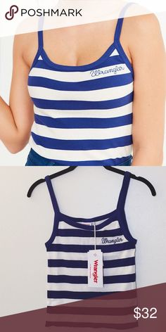 Vintage style striped tank top ⋈ From the Wrangler for Urban Outfitters Collaboration ⋈ Exclusive collection inspired by American vintage workwear ⋈ XS and Small available ⋈ Blue and white stripes ⋈ Comfy ribbed knit ⋈ Price is negotiable! Urban Outfitters Tops Tank Tops