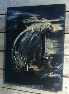 """Forlis/Shipwreck"" Painted with coffee and acrylic, and used som rusty nails"