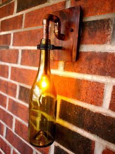 Wine Bottle Light Lamp - Industrial Sconce - Pinot Bottle - Interior