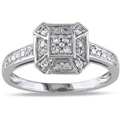 Miadora Sterling Silver 1/10ct TDW Diamond Ring ($97) ❤ liked on Polyvore featuring jewelry, rings, white, round cut diamond rings, white diamond ring, wide sterling silver rings, wide band rings and band rings