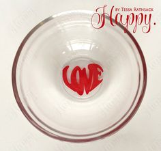 Simple Ring Dish for Jewelry Red LOVE in Heart Shape by HappyTessa