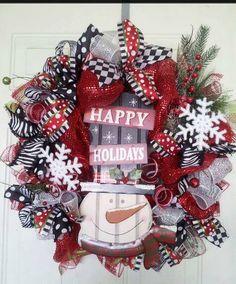 Snowman Happy Holidays wreath by WreathsbyDesign1 on Etsy, $80.00