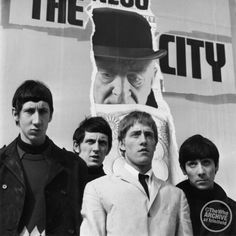 "The Who in Soho, London, 1965. S)  ""The Who""  Keith Moon Roger Daultry Pete Townsend John Entwhistle  #thewho #keithmoon #petetownsend @indiefilmacdmy   The Who Links: http://thewho.com/ http://en.wikipedia.org/wiki/The_Who"