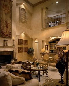 I love this room!  Tuscan inspired living room. | Perla Lichi Interiors    ᘡղbᘠ