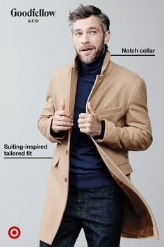 You can't go wrong with a tailored wool coat like this: the collar-notch detail and sleek-but-classic camel hue means this Goodfellow & Co topcoat will elevate any look. We're talking weekday meetings to nights out on the town, all season long. Fashion Night, Winter Fashion, Wool Top Coat, Cool Outfits, Fashion Outfits, Fashion Boots, Womens Fashion, Mens Fall, Mens Winter