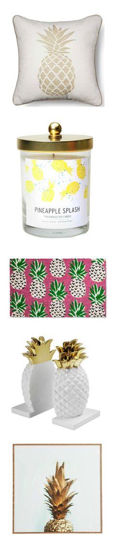 Pineapple decor, style vibes. | College Dorm Room Decor Ideas | Student Dorm Decorations | Pineapple Home Decor | Pineapple Decorations | Living Room | Bedroom | Gold Pineapple Decor | Bathroom | Pineapple Art | Interior Design | White |