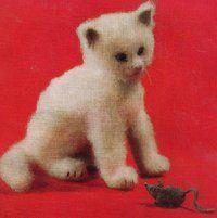 Kosset Cat and Cousin Kissett for free - toy - vintage knitting pattern